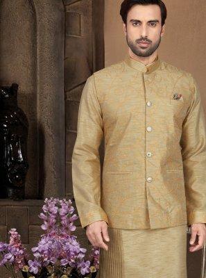 Plain Art Dupion Silk Kurta Payjama With Jacket in Cream