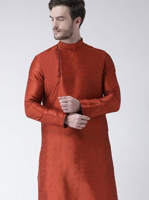 Plain Art Dupion Silk Kurta Pyjama in Orange