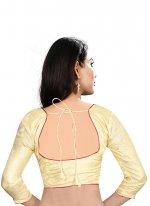 Plain Art Raw Silk Designer Blouse in Cream