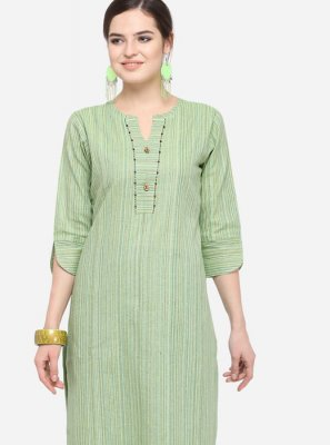 Plain Art Silk Cotton Green Party Wear Kurti