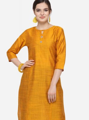 Plain Art Silk Cotton Party Wear Kurti