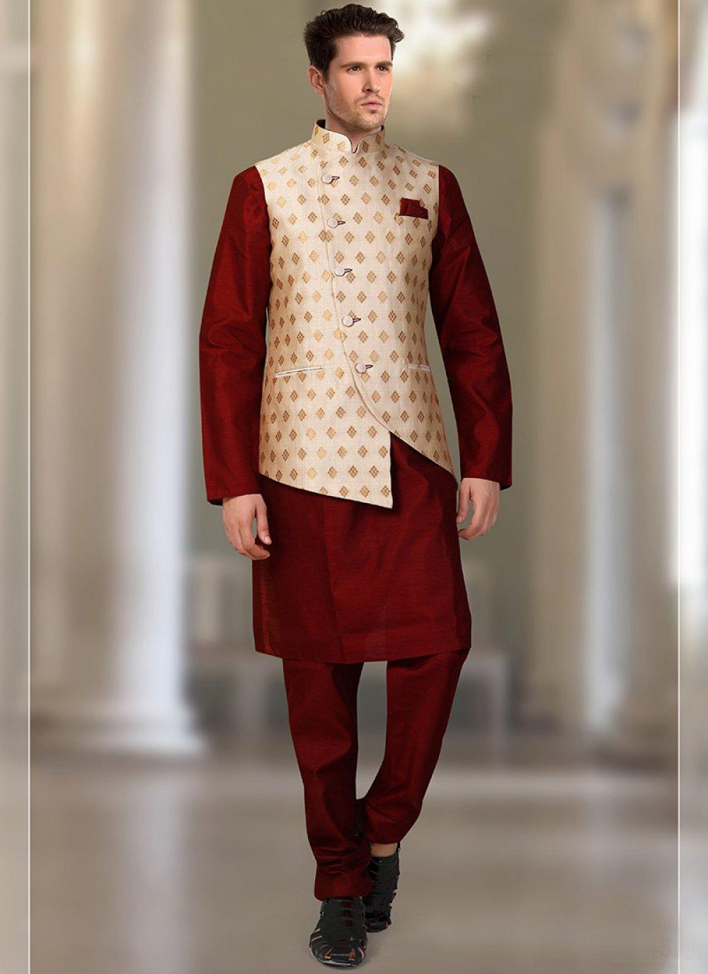 Plain Brocade Kurta Payjama With Jacket in Cream and Maroon