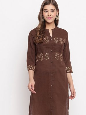 Plain Brown Cotton Casual Kurti