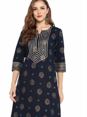 Plain Cotton Casual Kurti