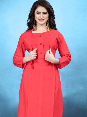 Plain Cotton Kurta in Rose Pink