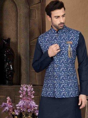Plain Cotton Kurta Payjama With Jacket in Blue
