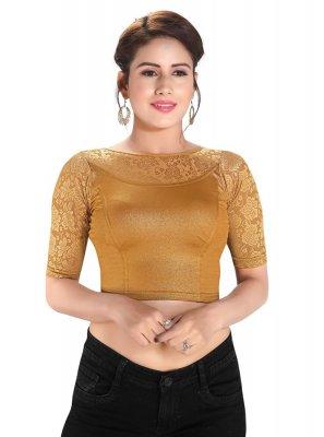 Plain Cotton Lycra Blouse in Gold