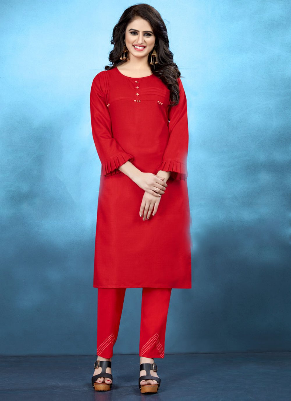 Plain Cotton Red Kurta