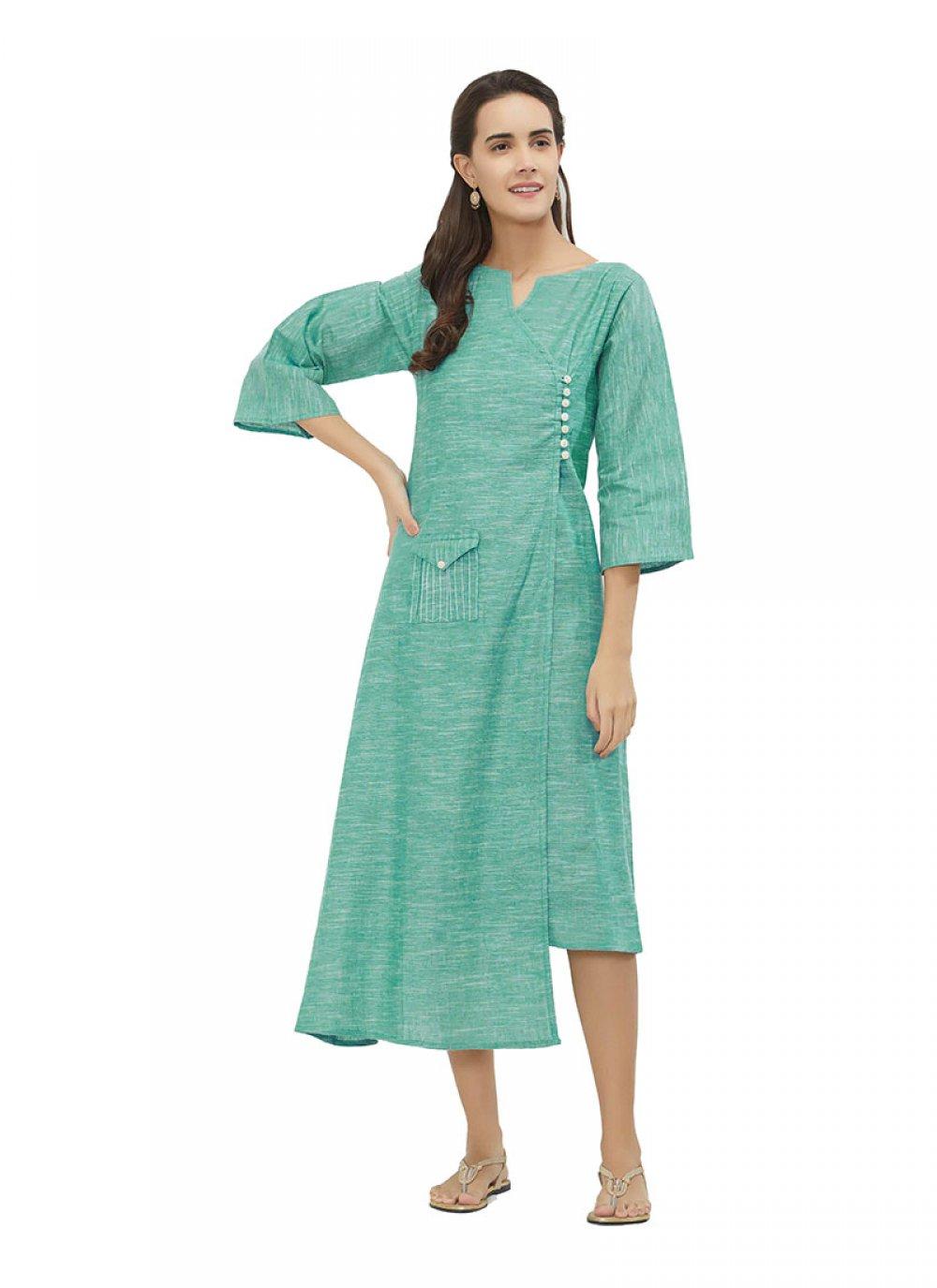 Plain Cotton Turquoise Kurta