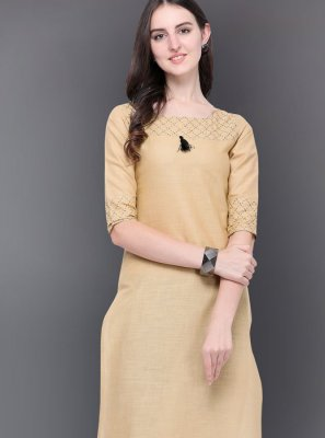 Plain Cream Casual Kurti