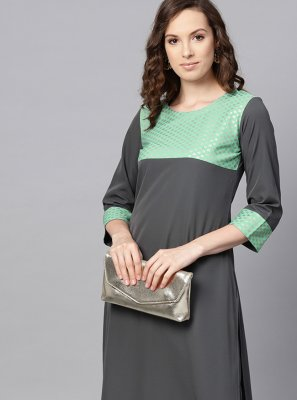Plain Faux Crepe Grey Casual Kurti