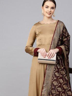 Plain Georgette Satin Brown Anarkali Salwar Suit