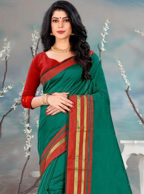 Plain Green Classic Saree