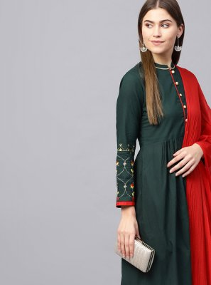 Plain Green Cotton Casual Kurti