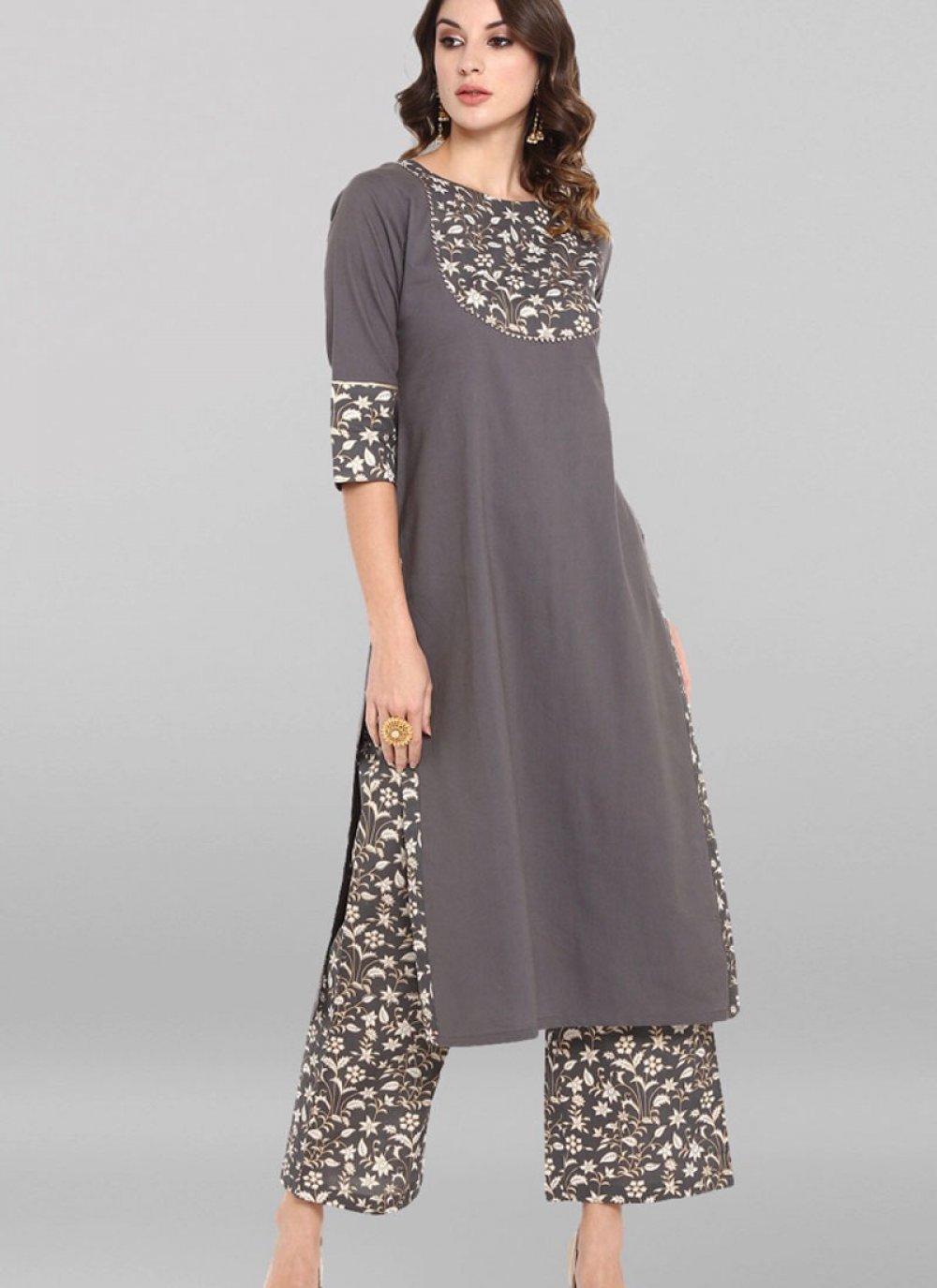 Plain Grey Cotton Designer Kurti