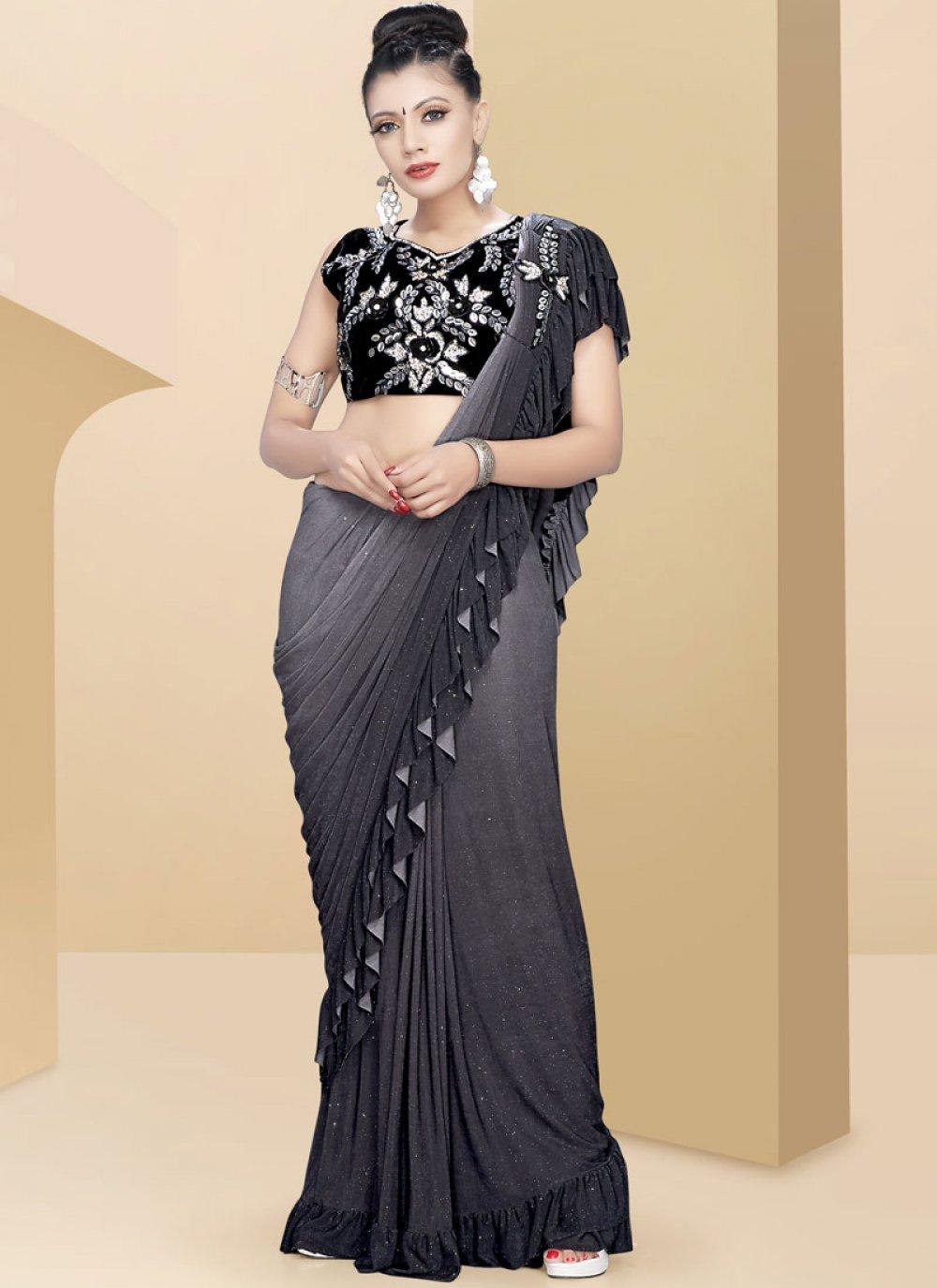 Plain Grey Traditional Saree
