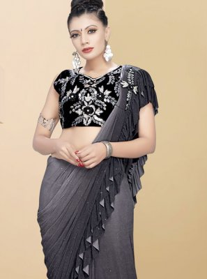 Plain Grey Traditional Saree
