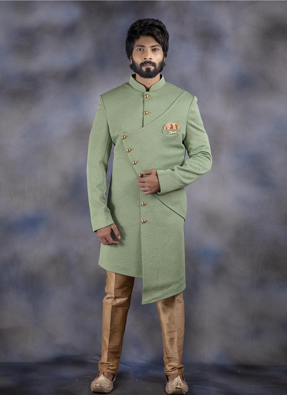 Plain Jacquard Indo Western in Green