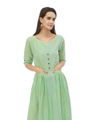 Plain Linen Green Kurta