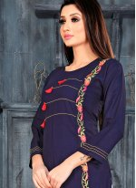 Plain Navy Blue Rayon Casual Kurti