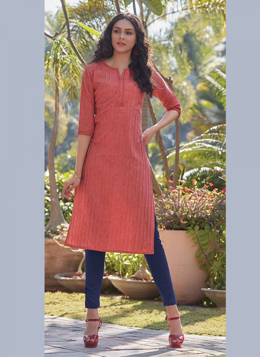 Plain Peach Cotton Designer Kurti