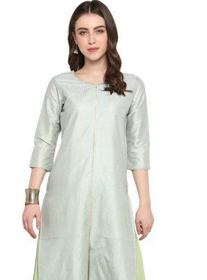 Plain Poly Silk Designer Kurti in Green