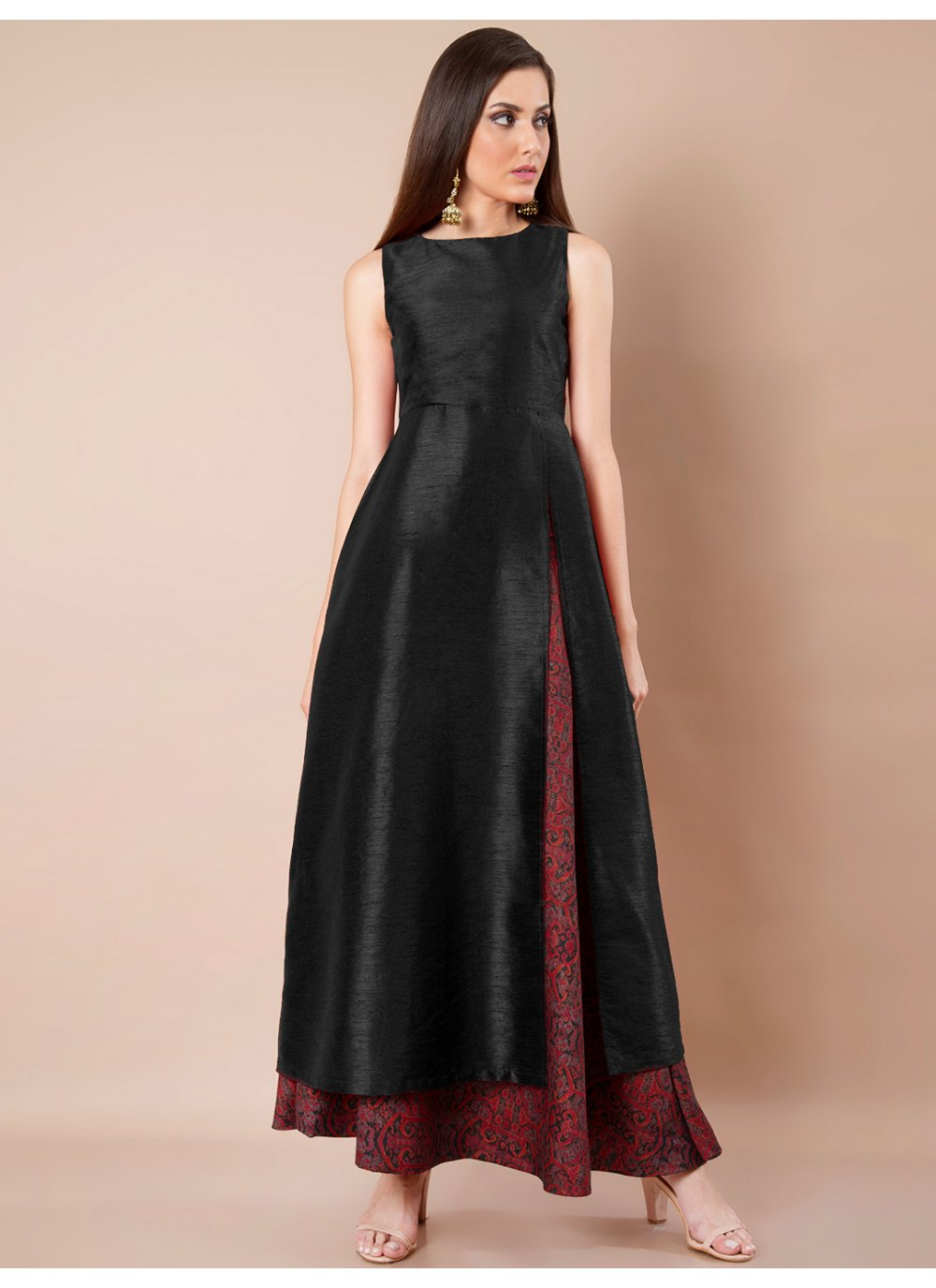 Plain Rayon Black Salwar Suit