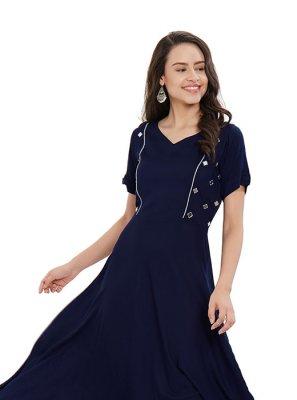 Plain Rayon Designer Kurti in Blue
