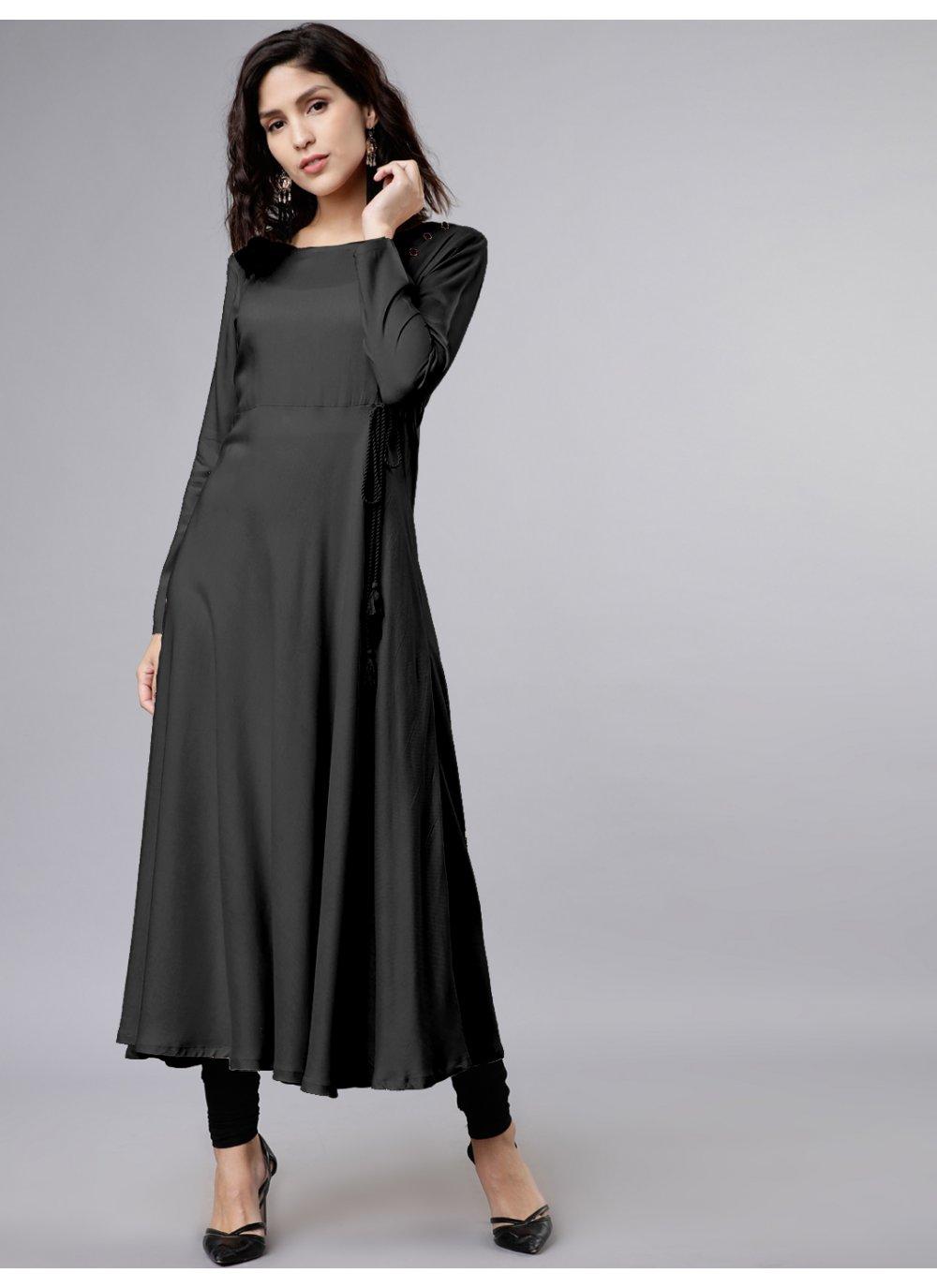 Plain Rayon Salwar Suit in Black