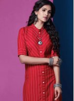 Plain Red Rayon Casual Kurti