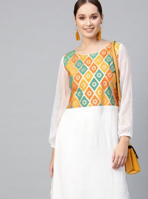 Plain Viscose White Casual Kurti