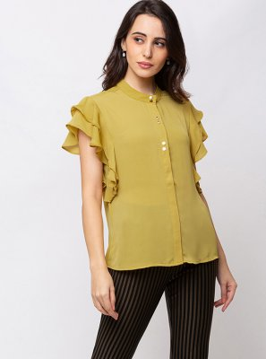 Plain Yellow Georgette Party Wear Kurti