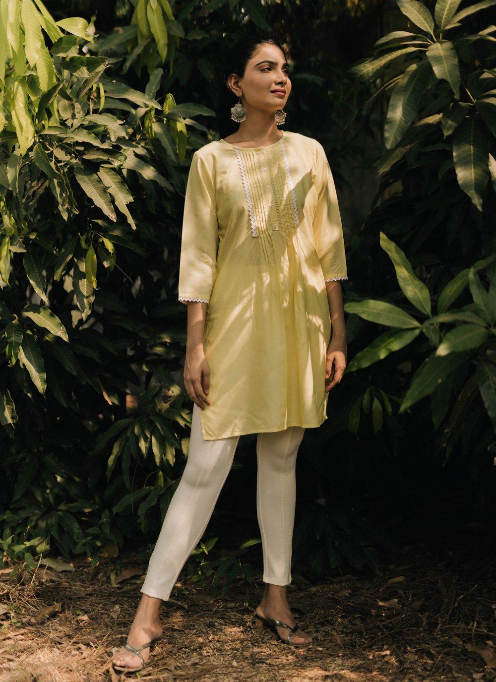 Plain Yellow Party Wear Kurti