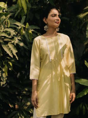 Plain Yellow Party Wear Kurti