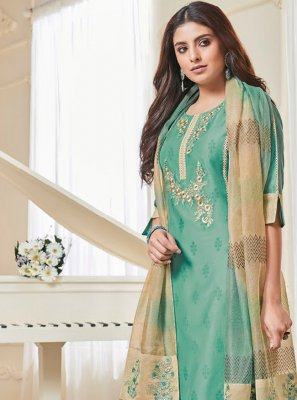 Polly Cotton Aqua Blue Embroidered Salwar Suit