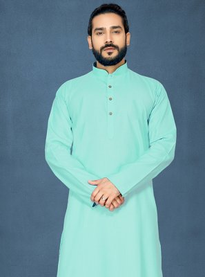 Polly Cotton Aqua Blue Kurta Pyjama