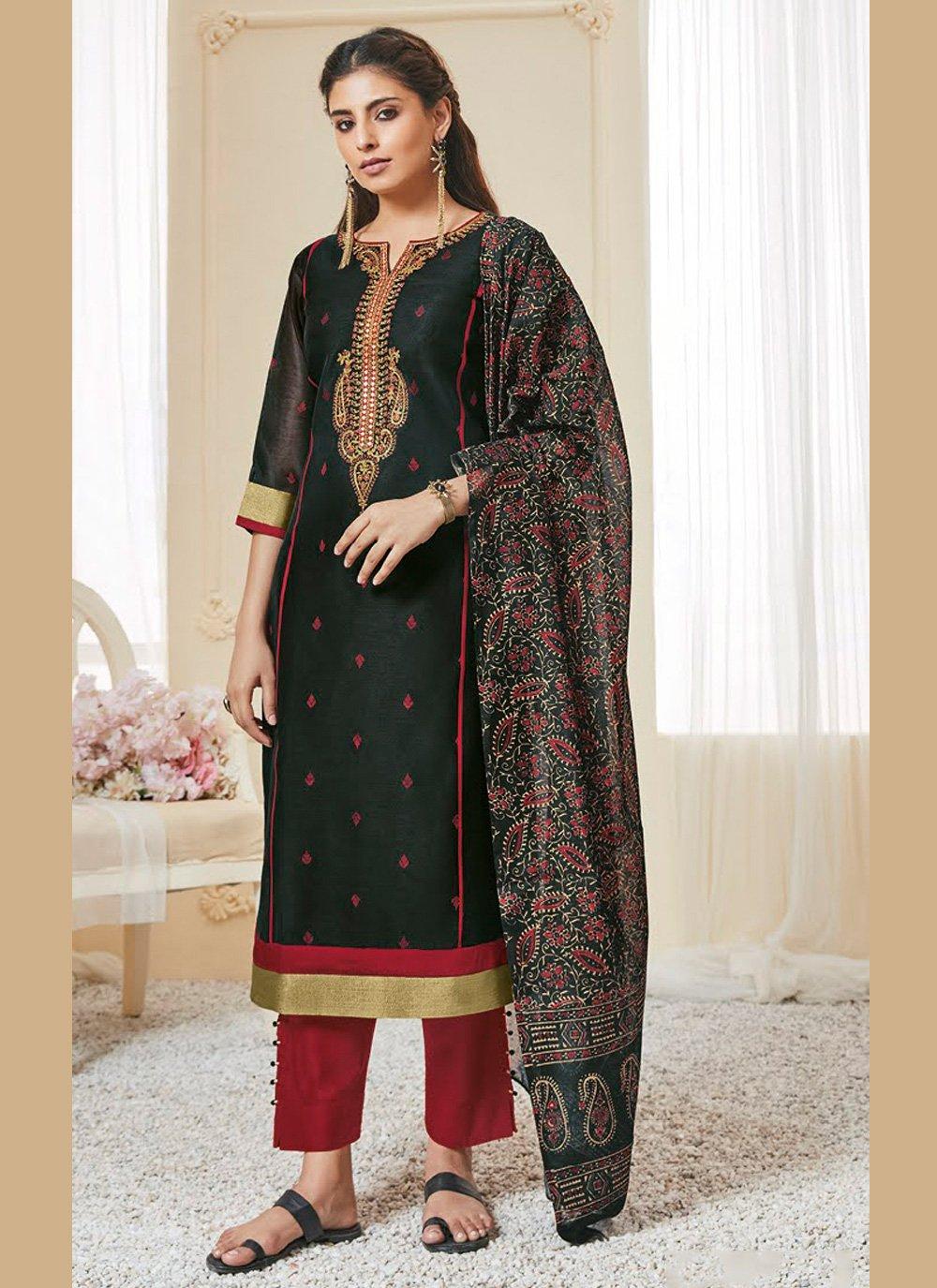Polly Cotton Black Resham Pakistani Suit