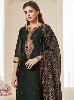 Polly Cotton Black Resham Pakistani Suit