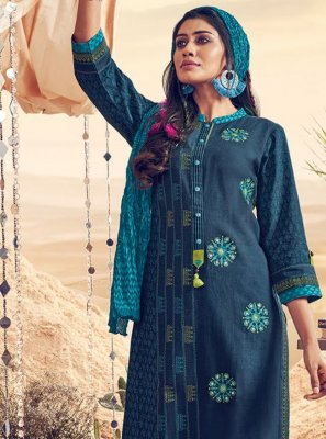 Polly Cotton Blue Resham Salwar Kameez
