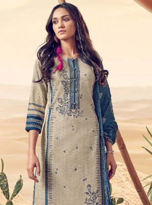 Polly Cotton Cream Resham Salwar Kameez