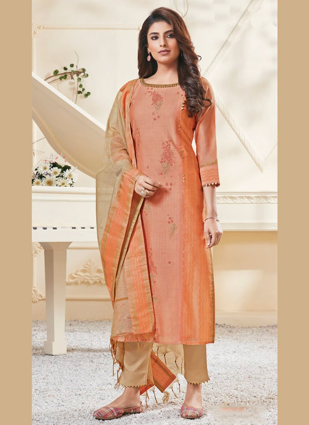 Polly Cotton Embroidered Designer Straight Salwar Suit