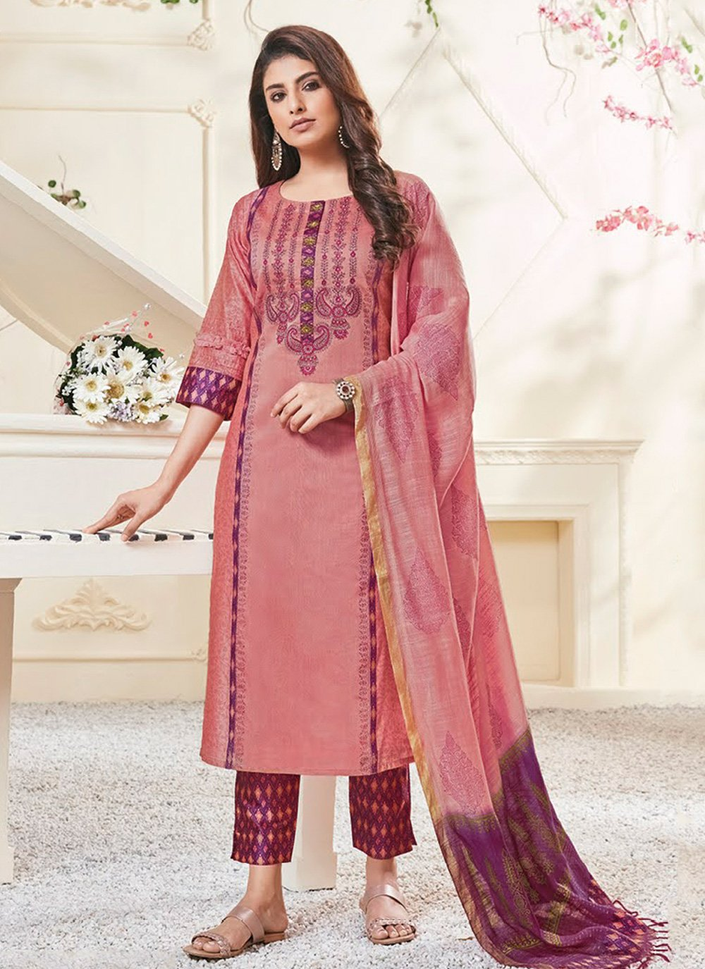 Polly Cotton Hot Pink Embroidered Pant Style Suit