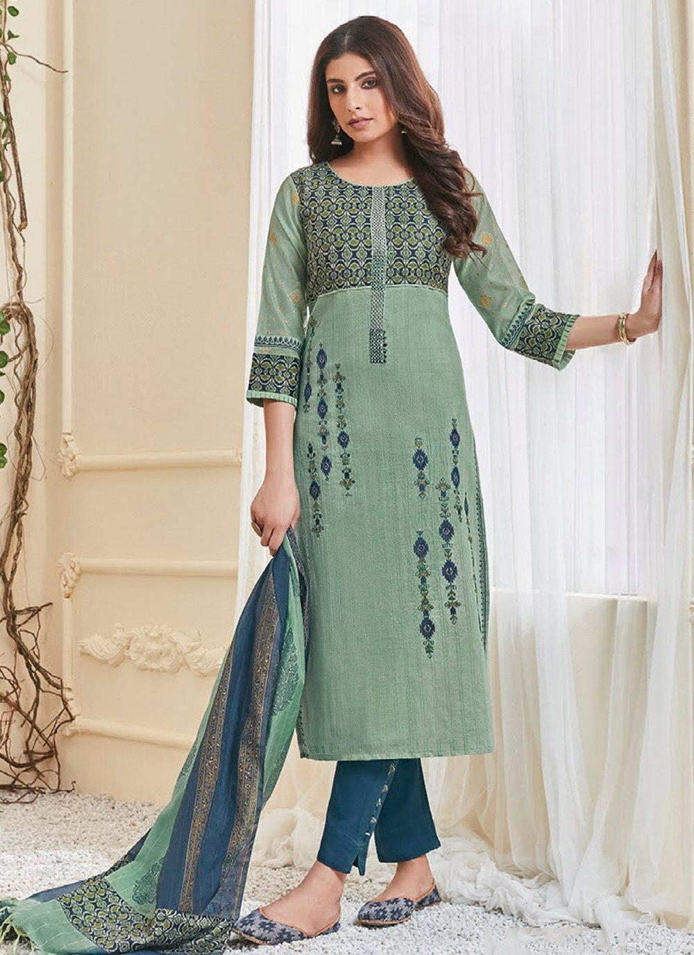 Polly Cotton Multi Colour Embroidered Salwar Kameez