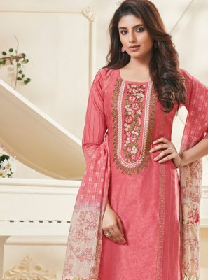 Polly Cotton Pink Designer Pakistani Suit