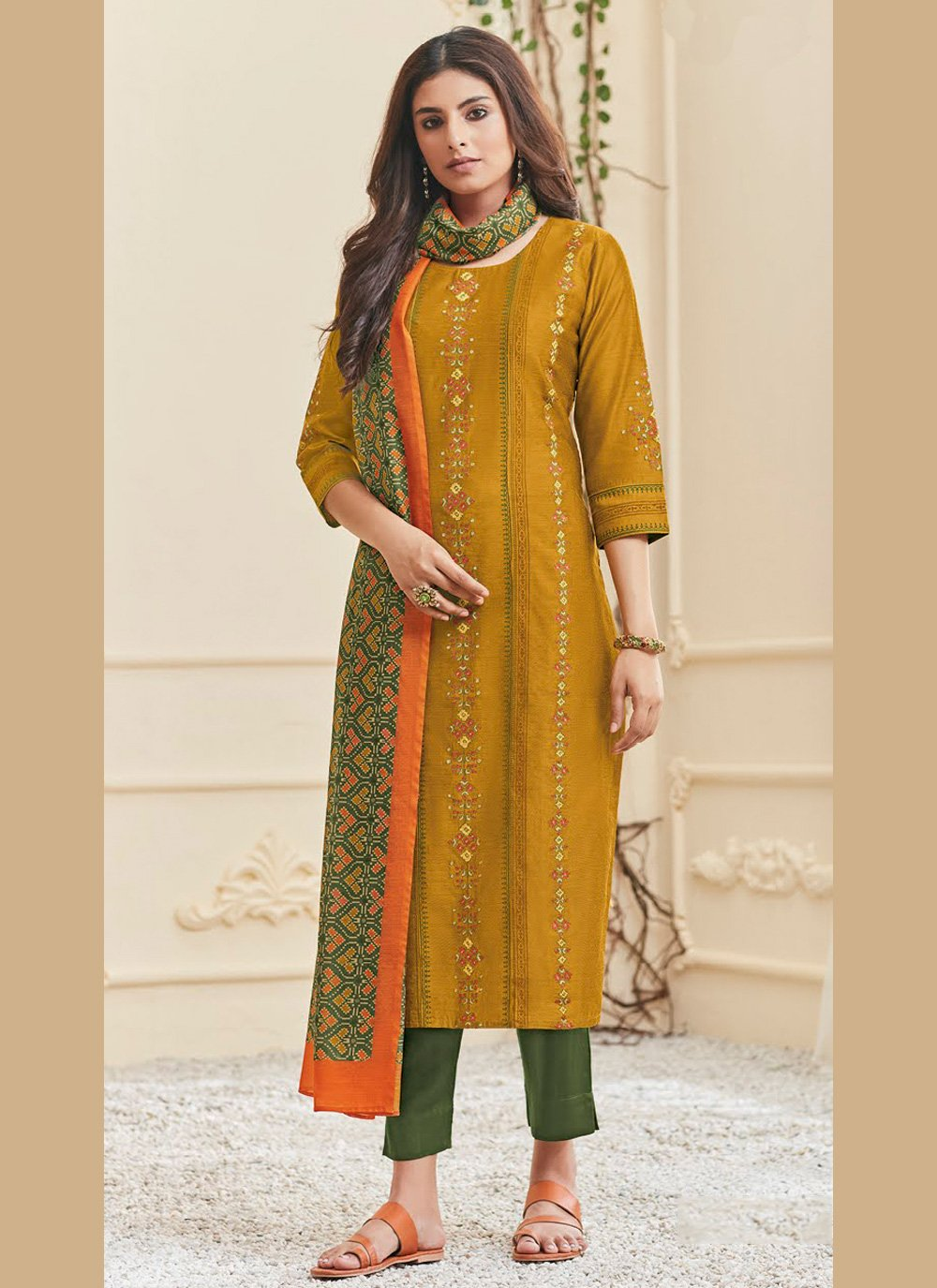 Polly Cotton Resham Mustard Pant Style Suit