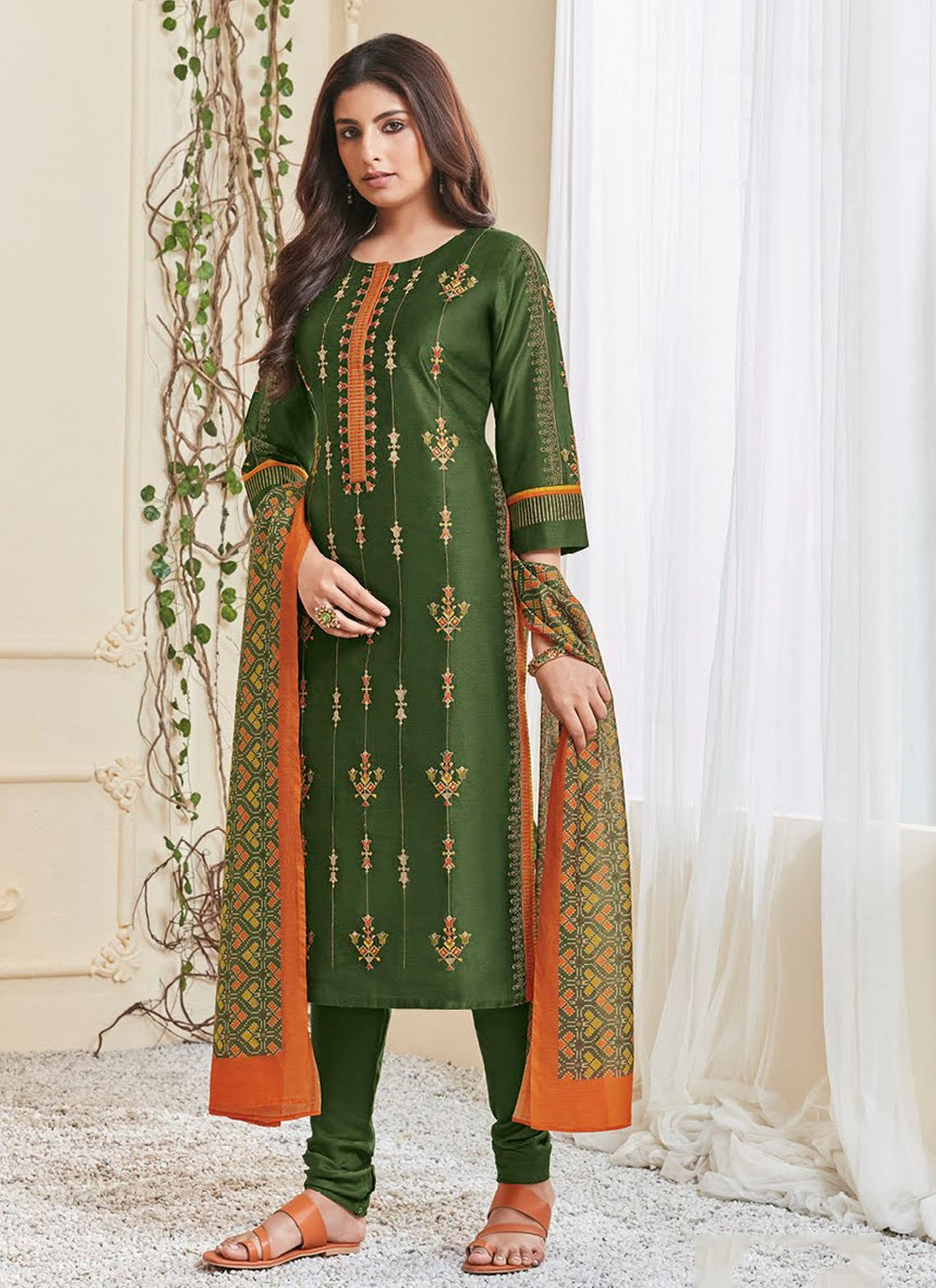 Polly Cotton Resham Salwar Kameez