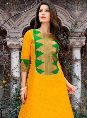 Poly Cotton Yellow Abstract Print Casual Kurti