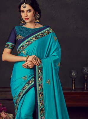 Poly Silk Blue Embroidered Silk Saree