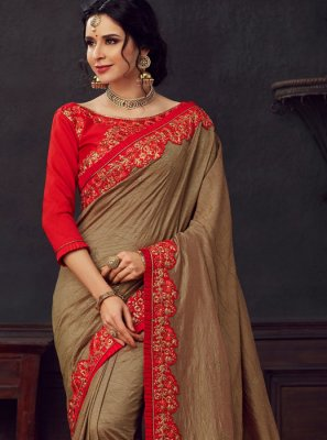 Poly Silk Brown Embroidered Silk Saree