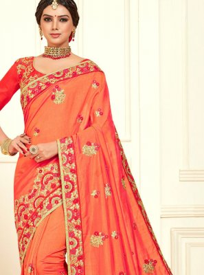 Poly Silk Classic Designer Saree in Orange
